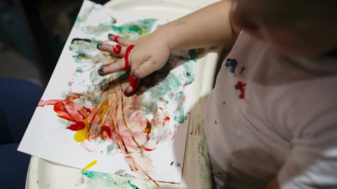 Boy painting Stock Video Footage