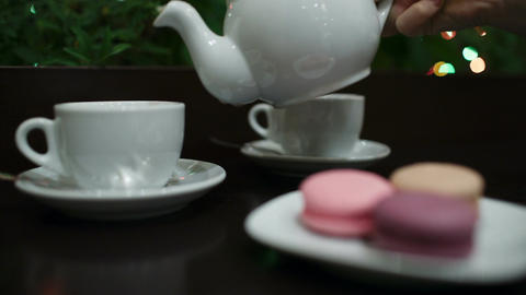 Tea With Macaroons In Cafe stock footage