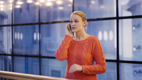 Woman talking on the phone Stock Video Footage