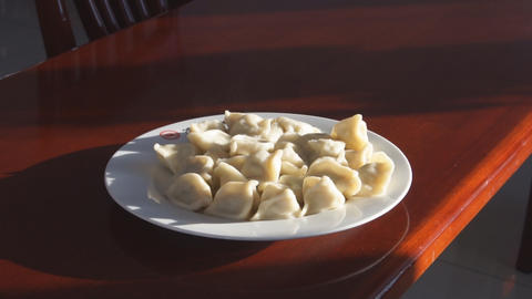 Eating Chinese Dumpling Jiaozi 02 Stock Video Footage