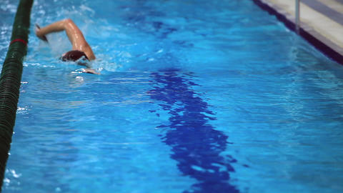 Swimmer Swims stock footage