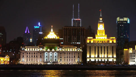 time lapse,Brightly lit ships cruising Shanghai Bund at... Stock Video Footage