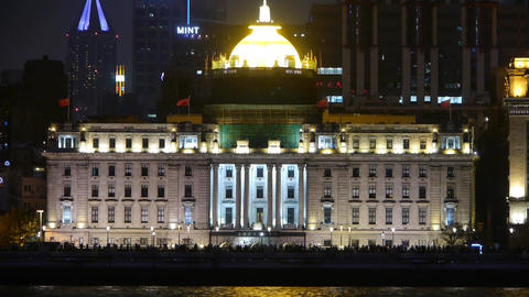 view Shanghai Bund from pudong at night,old style building & people silhouet Animation
