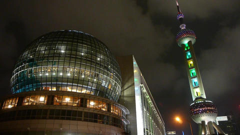 shanghai orient pearl TV tower at night Stock Video Footage