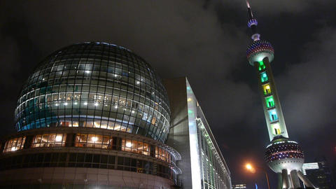 shanghai orient pearl TV tower at night Animation
