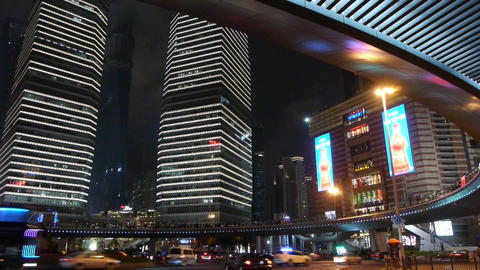 shanghai night traffic & skyscraper,light trails of... Stock Video Footage
