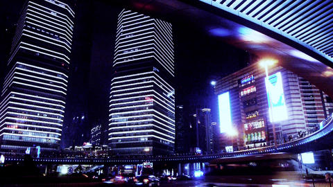 time lapse light trails of cars under overpass & skyscraper,shanghai,china Animation