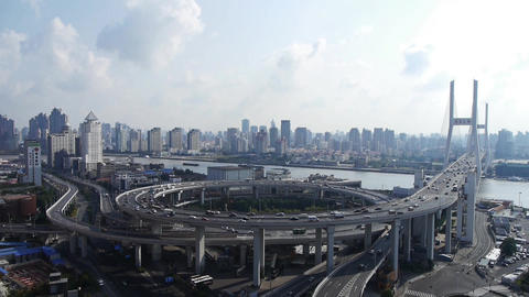 Aerial view of shanghai nanpu overpass traffic interchange Animation