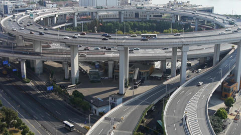 time lapse,Aerial view of urban overpass traffic interchange Animation