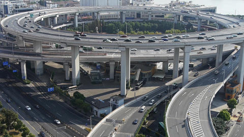time lapse,Aerial view of urban overpass traffic interchange Stock Video Footage