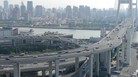 time lapse,Aerial view of urban overpass traffic... Stock Video Footage