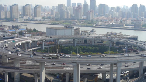 closeup of urban overpass traffic interchange,moving the... Stock Video Footage