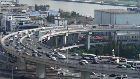 closeup of urban overpass traffic interchange,Shanghai... Stock Video Footage