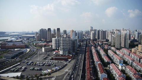 shanghai traffic,urban building background,china Animation