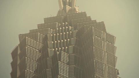 serious haze pollution,shanghai huanqiu skyscraper,urban... Stock Video Footage