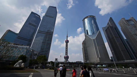 time lapse,shanghai traffic,skyscraper & orient pearl TV tower Animation
