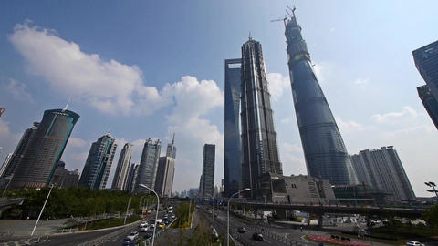 time lapse,urban traffic,shanghai lujiazui finance center & skyscraper,flyin Animation