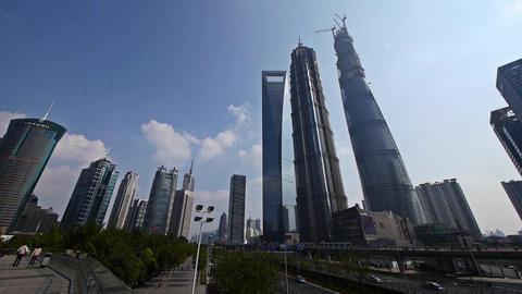 panoramic of shanghai lujiazui finance center & skyscraper,moving the lens Animation