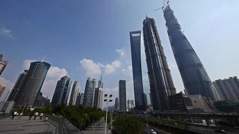 panoramic of shanghai lujiazui finance center &... Stock Video Footage