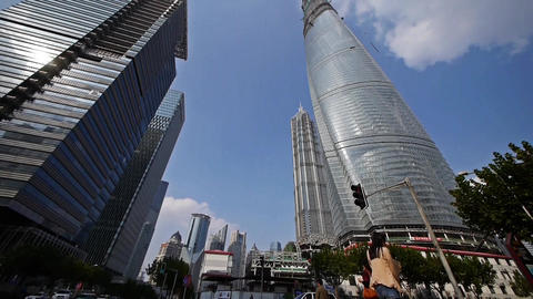 shanghai lujiazui finance center & skyscraper,moving... Stock Video Footage