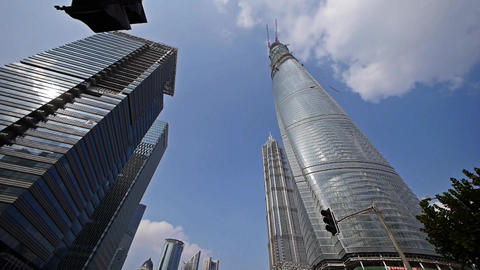shanghai lujiazui finance center & skyscraper,moving the lens Animation