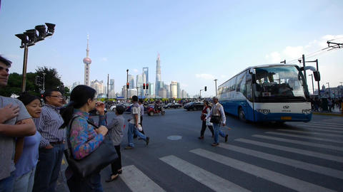 time lapse,people crossing the road with Shanghai... Stock Video Footage