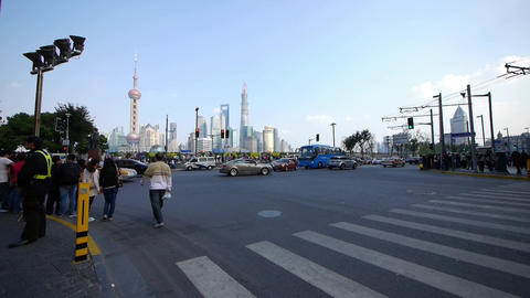 Time Lapse,people Crossing The Road With Shanghai  stock footage