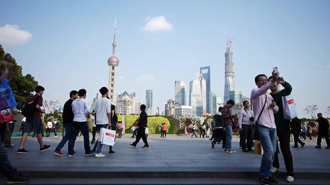 tourist tour the Huangpu River,Shanghai lujiazui business... Stock Video Footage