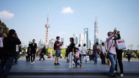 tourist tour the Huangpu River,Shanghai lujiazui business building Animation