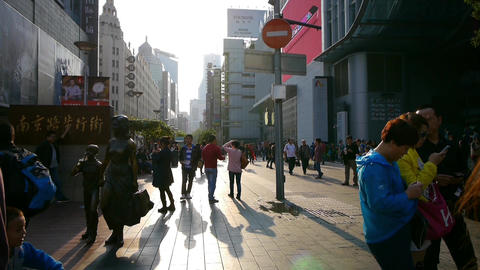time lapse,extremely busy nanjing road,pedestrian... Stock Video Footage