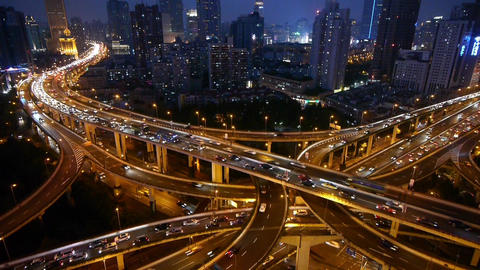 Time lapse,Shanghai Night Aerial View Car Traffic Jam on overpass Interchange Animation
