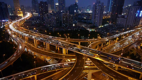 Time lapse,Shanghai Night Aerial View Car Traffic Jam on... Stock Video Footage