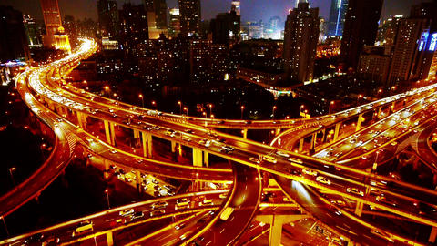 time lapse Aerial View Car Traffic Jam on overpass Interchange at night Animation