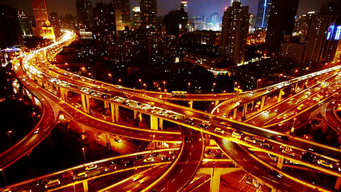 time lapse Aerial View Car Traffic Jam on overpass... Stock Video Footage