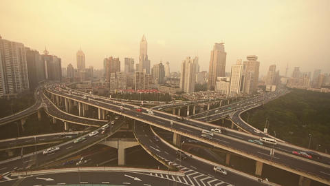 heavy traffic on highway interchange,Aerial View of Shanghai haze pollution Animation