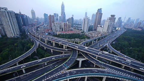 time lapse,heavy traffic on highway interchange,Aerial... Stock Video Footage