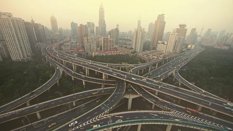 time lapse,heavy traffic on highway interchange,serious Shanghai pollution haze Animation