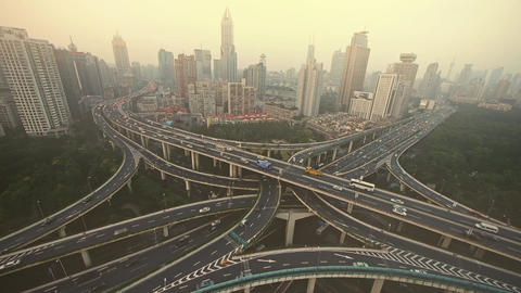 time lapse,heavy traffic on highway interchange,serious... Stock Video Footage
