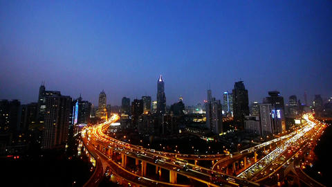 traffic lights trail on overpass bridge at night,shanghai... Stock Video Footage