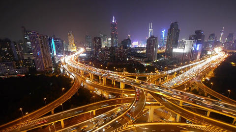 time lapse,traffic lights trail on overpass bridge at... Stock Video Footage