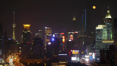 time lapse,busy city rush hour heavy traffic jam,shanghai pearl-tower at night Animation