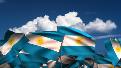 Waving Argentinian Flags Stock Video Footage
