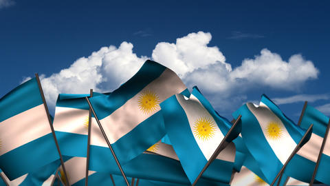 Waving Argentinian Flags Animation