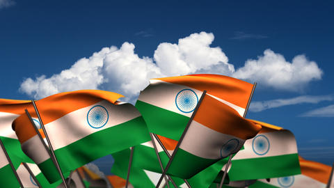 Waving Indian Flags Stock Video Footage