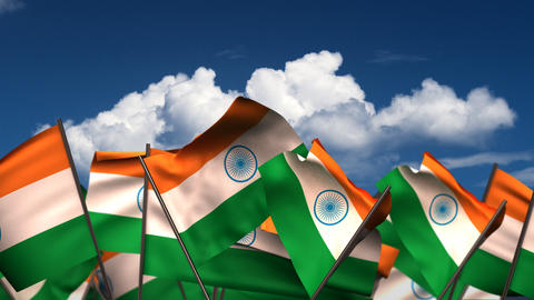 Waving Indian Flags Animation