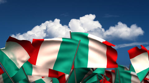 Waving Italian Flags Stock Video Footage