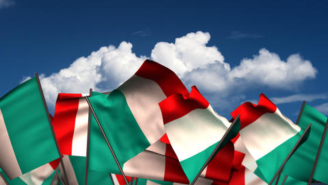 Waving Italian Flags Animation