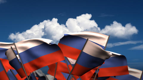 Waving Russian Flags Stock Video Footage
