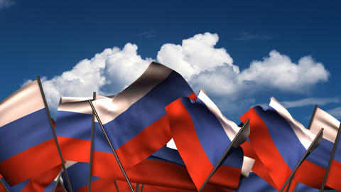 Waving Russian Flags Animation