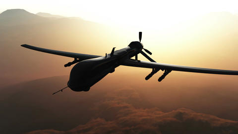 Predator Drone in Action Sunset Sunrise 1 Stock Video Footage